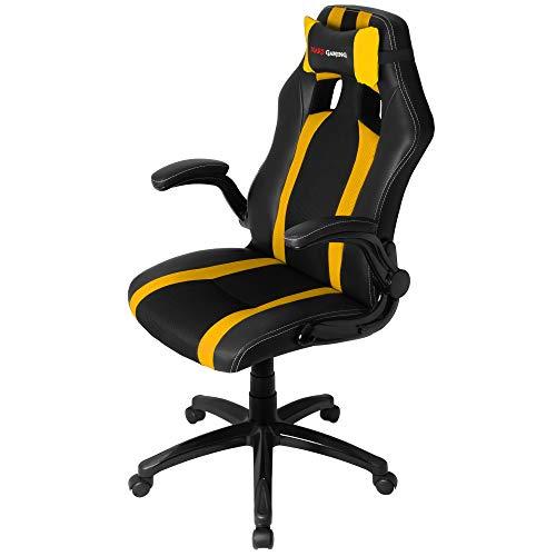 Silla gaming amarilla profesional con ruedas