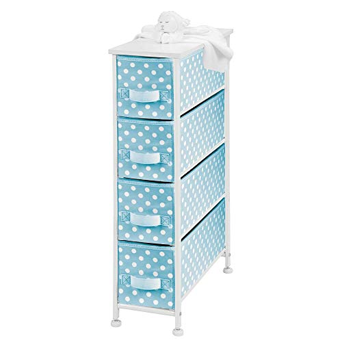 Best Price mDesign Narrow Vertical Dresser Drawers - Sturdy Steel Frame, Wood Top, 4 Easy Pull Fabri...