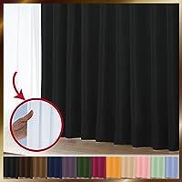 窓美人 1級遮光カーテン&UV・遮像レースカーテン 各1枚 幅150×丈135cm 幅150×丈133cm ピュアブラック リュミエール 断熱 遮熱 防音 紫外線カット