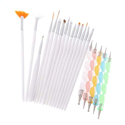 Minkissy 20PCS / Set Brosse À Ongles Maquillage Brush Set Point Drill Pen Nail Peinture Ongles Outil Ensemble (Blanc)