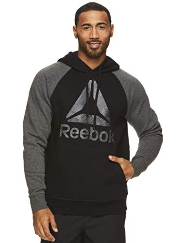 Reebok Men's Performance Pullover Hoodie Sweatshirt - Graphic Hooded Activewear Sweater with Front Pocket - Pyramid Camo Black, Medium