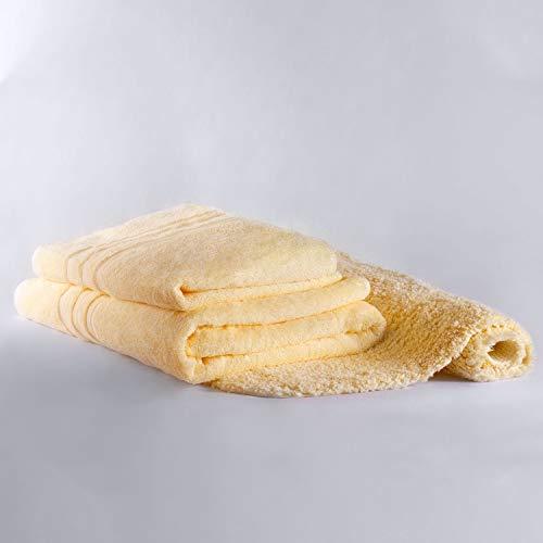 Chantarole - Juego de Toallas de baño Grandes: 1 Toalla de baño + 1 Toalla Manos + 1 Alfombra baño; Toallas Amarillas Algodon; Toallas Hotel (Amarillo, 3)