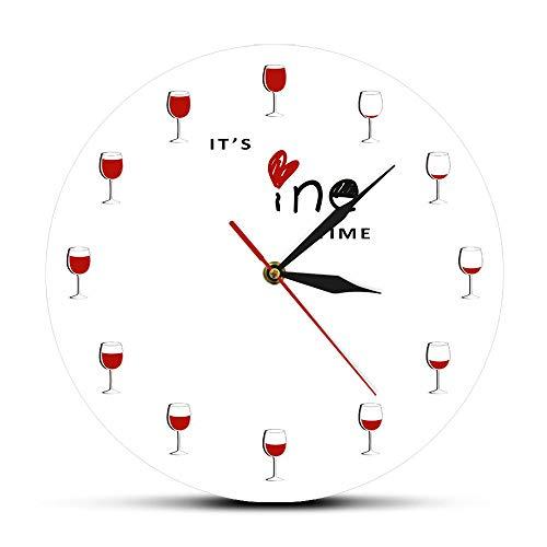 Patrón Reloj de Paredes Hora del Vino Reloj de Pared Impreso Alcohol Copa de Vino Decoración del hogar Vino Tinto Reloj de Pared Licor Cata de vinos Bebedero Regalo de Amante - 30cm.