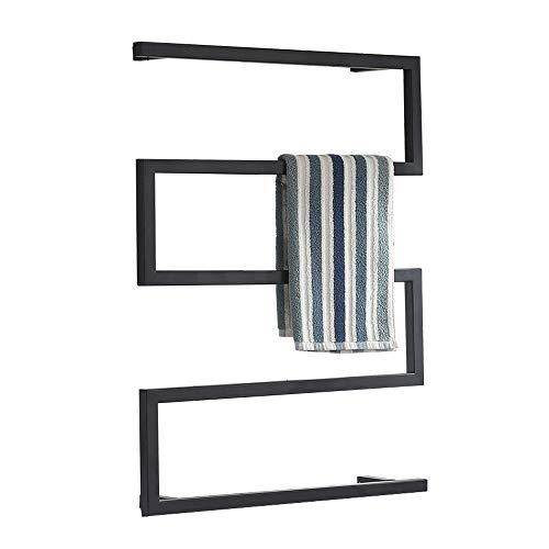 WOERD Badheizkörper elektrisch Handtuchheizkörper Handtuchwärmer heizkörper wandmontage handtuchhalter, Bad Mittelanschluss Handtuchwärmer, schwarz, 600×800mm