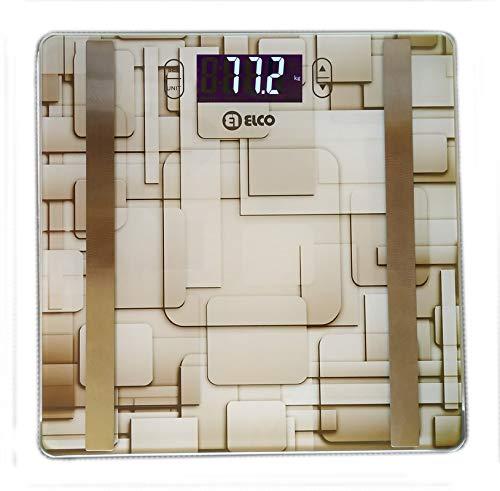 Elco PDB-1520A, Báscula de baño Digital Analizadora, Cálcula Peso, Grasa, Porcentaje de Agua, Masa Muscular y Masa Ósea, Sensor Táctil, Apagado Automático e Indicador de Batería Baja