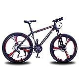 MENG 26 Pulgadas de Acero Al Carbono Bicicleta de Montaña Bicicleta para Adultos para Mujer para Mujer 21/24/27 Sistema de Cambio de Velocidad con Freno de Disco Dual (Tamaño: 27 Velocidad, Color: Ro