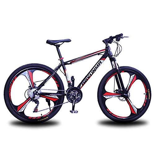 MQJ 21/24/27 Velocità Della Bicicletta 26 Pollici Ruote da Mountain Bike Doppio Disco Freno Della Bici per Adulti per Womens Mens/Rosso/21 Velocità