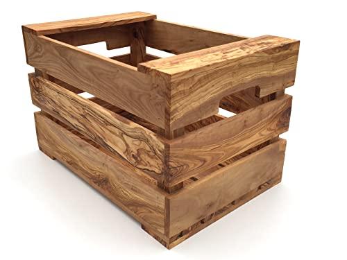 Caja hecha a mano de madera de olivo, tamaño XL, 45 x 35 x 28 cm, almacenamiento para verduras, caja de fruta, decoración de madera de alta calidad