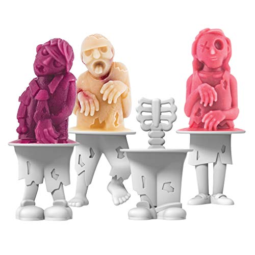 Tovolo Zombies Ice Pop Molds, Flexible Silicone, Easily-Removable, Dishwasher Safe, Set of 4 Popsicle Makers with Sticks