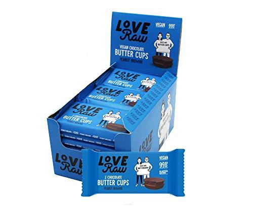 LoveRaw Dunkle Schokolade Brownie Peanut Butter Cups - Vegane Schokolade - 18 x 34g Packung ( 2 Stück pro Pack) Palmölfreier, laktosefreier und veganer Snack, Nur natürliche Zutaten