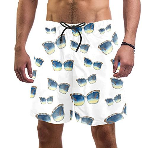 Troncos de natación para hombre cortos de tela de secado rápido con forro de malla de moda de tendencia Turnks gafas de sol y hojas, anteojos de sol 2, X-Large