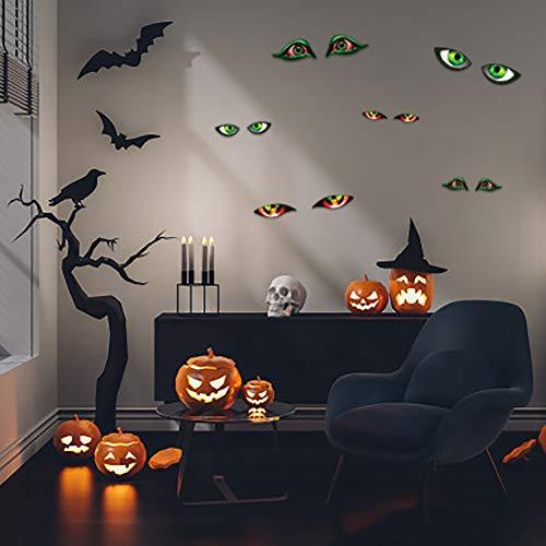 Lamdgbway Adesivo di Halloween Halloween Luminoso Parete Decalcomanie Luminose Rimovibili Casa Decorativa Fluorescente Adesivi Decorazioni di Halloween (12 Occhi Malvagi)