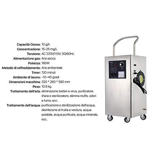 Generador de ozono 2 en 1 para purificación de aire y agua profesional 10 g/h, hasta 100 m²2, ozonizador con temporizador, esterilizador desinfectante (10.000 mg/h)