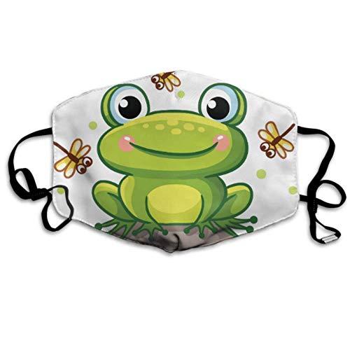 Stilvoller süßer Smiley-Frosch mit Libellenabdeckungen Reisestaubabdeckung Gesichtsabdeckung für draußen
