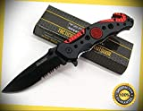 Red Black Fire Department Assisted Serrated Rescue Glassbreaker Sharp Knife Combat Tactical Knife by KARPP