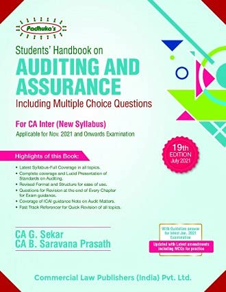 Students' Handbook on AUDITING and ASSURANCE Including MCQs For CA Inter New Syllabus (Applicable for Nov 2021 and onwards examination)