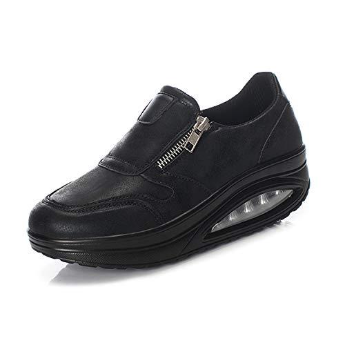 Mujer Zapatos de Plataforma Zapatillas Mocasines de Marcha nórdica de cuña ortopédicas con cojín de Aire Negro 40 EU