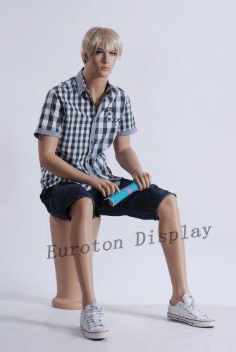TonHan MS-12 Schaufensterpuppe Schaufensterfigur männlich Neu sitzende männliche Puppe Hautfarbe sitzend