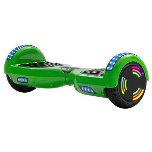 ASY Hoverboard - Scooter Eléctrico De 6,5 Pulgadas con Autoequilibrio, 2 Ruedas, Luces Arcoíris, Monopatín De Equilibrio Inteligente con LED Bluetooth para Niños Y Adultos (Color : Green)