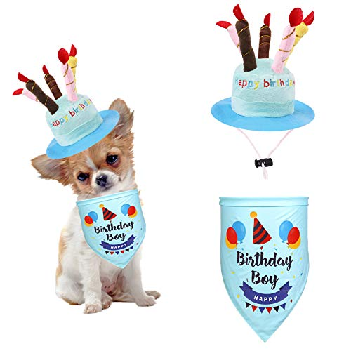 Dog Birthday Hat with Adorable Bandana Cute Adjustable Cat Hat with Colorful Candles Dog Birthday Scarf, for Large Medium Small Dogs & Cats and Puppy Party Costume Accessory-Blue