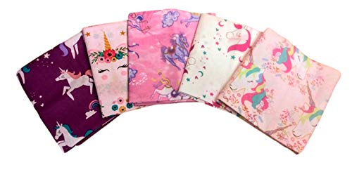 Fat Quarter 1/4 Yard Bundle Set 5 Unicorn Fantasy Fabric Stack Pink Purple Floral (0.25 Yard Bundle)