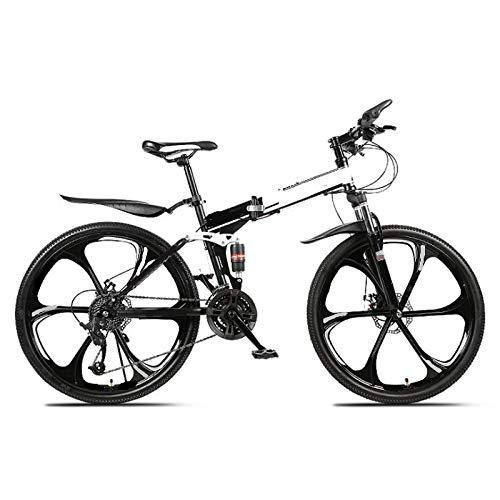 ZJBKX Bicicleta De Montaña Plegable De 24 Pulgadas, Doble Amortiguación De 21 Velocidades, Rueda De 6 Cuchillas Y Frenos De Disco Dobles para Bicicleta