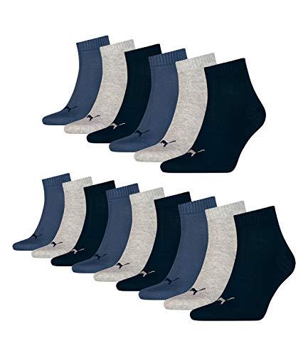 Puma 15 Paar Unisex Quarter Socken Sneaker Gr. 35-49 für Damen Herren Füßlinge, Farbe:532 - navy/grey/nightshadow b, Socken & Strümpfe:35-38