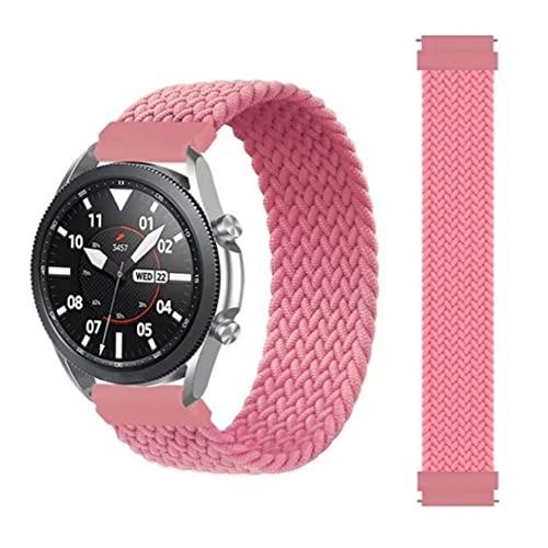 Correa Pulsera reemplazo de 22mm trenzado Solo lazo correa para Samsung Galaxy 46mm/Gear pulsera reloj Huawei GT/2/2e/Pro Huami amazfit pace/stratos2/2s banda elástica varios colores (Rosa)