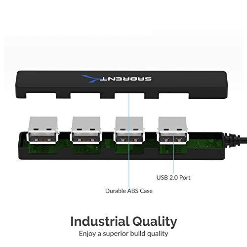 Sabrent 4 Ports Anschlüsse, Tragbarer USB 2.0 Hub (9,5