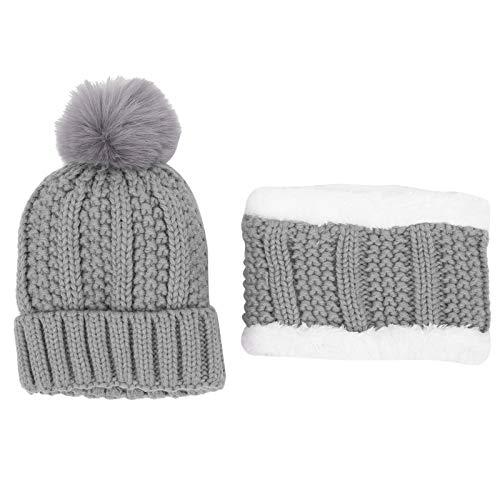 Qioniky Sombrero de Invierno, sin Agente Fluorescente Diseño Lindo Gorro de Punto cálido, Tranquilidad para el bebé al Aire Libre(Gray)