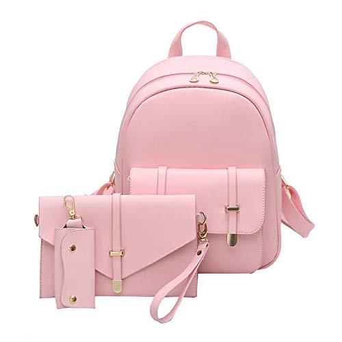Dearbbag 3Pcs / Set Zaino per scuola per zaino a spalla solido da donna in pelle PU Pink