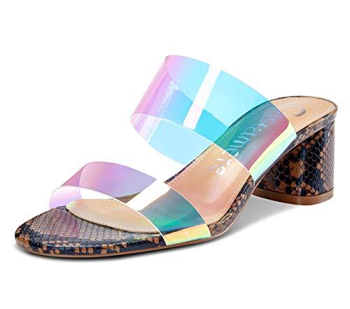 CASTAMERE Zapatos de Tacón Mujer Punta Abierta Moda Sandalias Talón Abierto Transparente Ancho Tacón 5CM Marrón Serpiente Zapatos EU 45