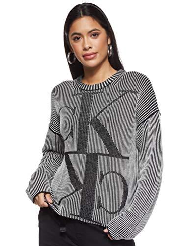 Calvin Klein Jeans Damen Mirrored Monogram Cn Pullover, Ck Black, S