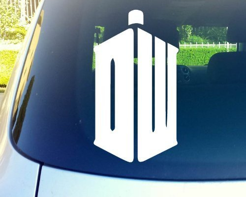 Dw Tardis Doctor Who Logo 6' White Vinyl Decal Sticker for Car Automobile Window Wall Laptop Notebook Etc. Any Smooth Surface Such As Windows Bumpers | Keen177