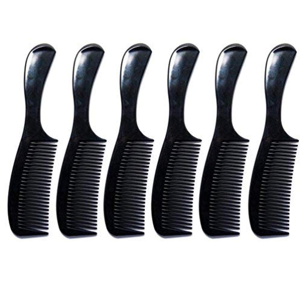 エスカレーター偶然のサークルLuxxii - (6 Pack) 8 inch Black Styling Essentials Round Handle Comb Pocket [並行輸入品]