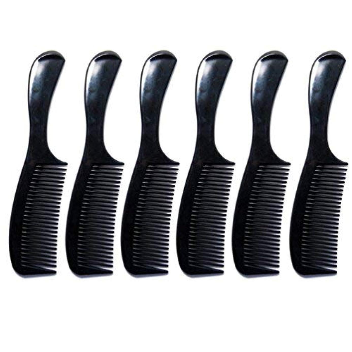 囲む見積り見積りLuxxii - (6 Pack) 8 inch Black Styling Essentials Round Handle Comb Pocket [並行輸入品]