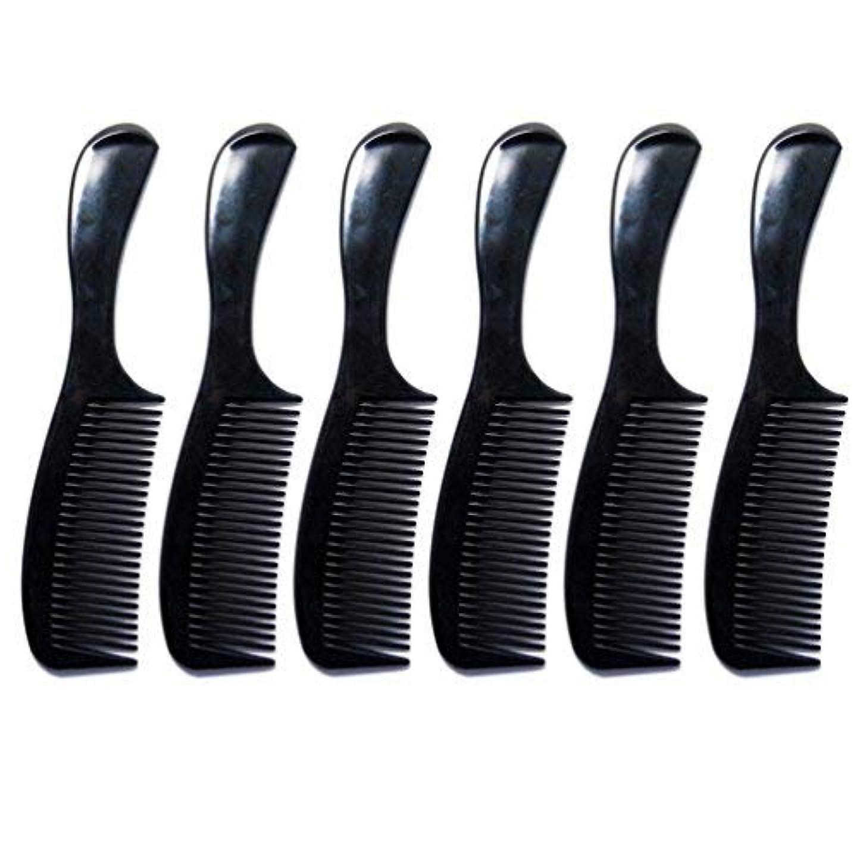 複雑でない精神レインコートLuxxii - (6 Pack) 8 inch Black Styling Essentials Round Handle Comb Pocket [並行輸入品]
