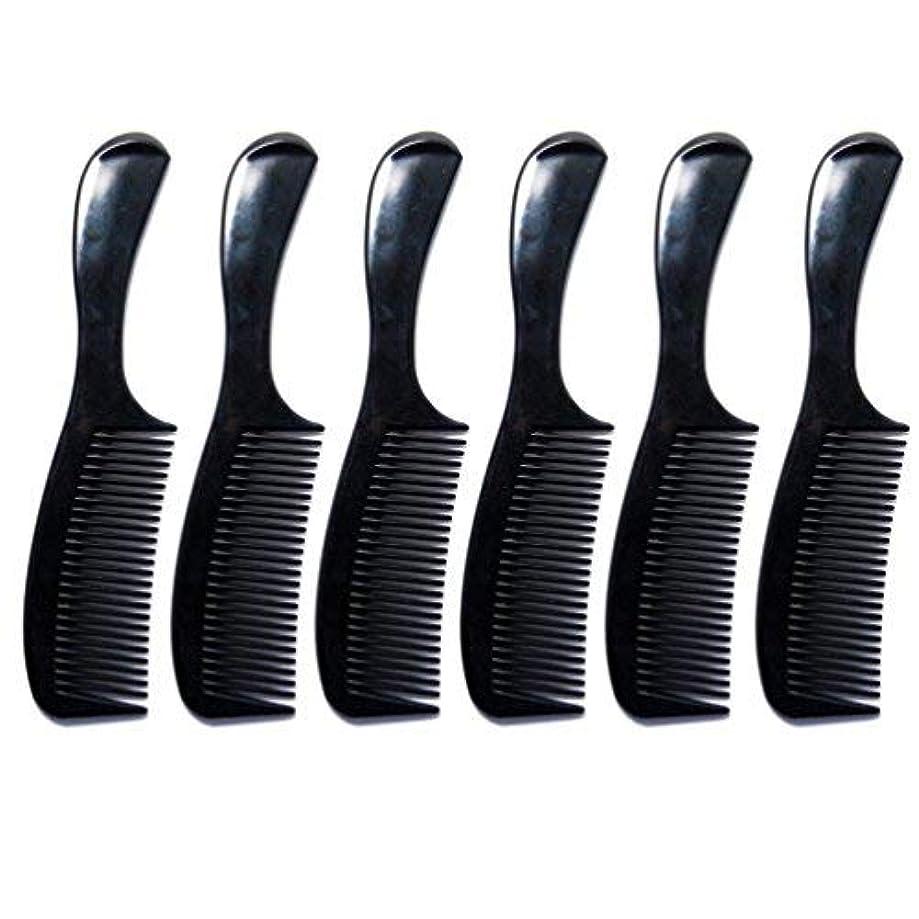 素晴らしい混乱した流暢Luxxii - (6 Pack) 8 inch Black Styling Essentials Round Handle Comb Pocket [並行輸入品]