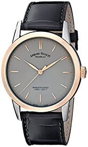 Armand Nicolet Men's 8670A-GR-P670GR1 L10 'Limited Edition' Stainless Steel Mechanical Watch with Leather Band image