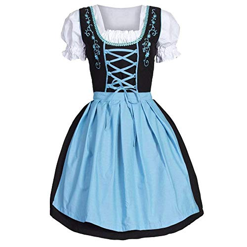 Oktoberfest kostüm Damen,Trachten Midi Dirndl Damen Trachtenkleid Kurzarm mit Bluse und Schürze Exklusives für Oktoberfest Bayerisches Bier Mädchen Taverne Maid Kleid Riou Prime (XL, Blau)