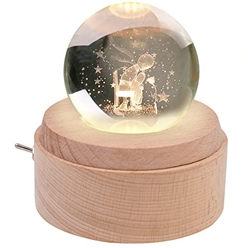 BIAOQINBO Spieluhr, Kleine Prinz & Rose, K9 Glas 3D Kristallkugel, Holzsockel Musikbox, Projektion Nachtlicht, Geschenk für Kindertag Geburtstag/Liebe Kinder Eltern Freundin, Deko Zimmer Büro Tisch