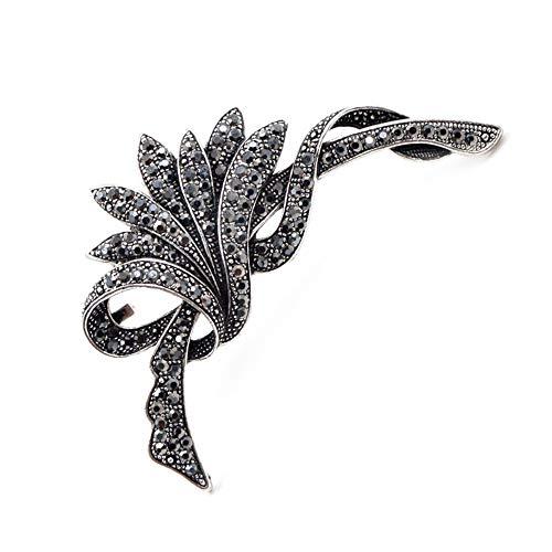 COLORFULTEA Broches De Flores Negras De Imitación para Mujeres Moda Vintage Broche Pin Fiesta Boda Accesorios Grandes Broches Regalo
