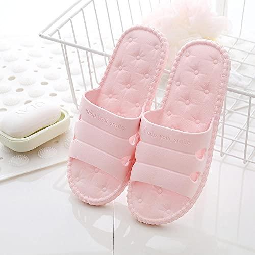 Chanclas Mujer Ducha Playa Zapatillas de baño Antideslizantes para el hogar Unisex, Sandalias para Hombres y Mujeres para Interiores, Exteriores, jardín, Sala de Estar, Rosa EU35-36