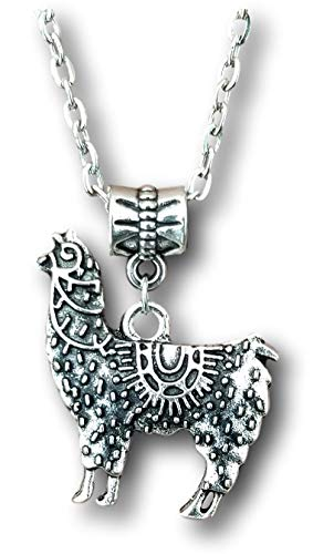Pashal Silver Llama Alpaca Engraved Design Pendant Charm Necklace (Engraved)