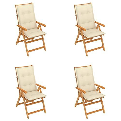vidaXL 4X Teak Massiv Gartenstuhl mit Creme Kissen Klappbar Hochlehner Klappstuhl Holzstuhl Gartenmöbel Terrassenstuhl Stühle Stuhl