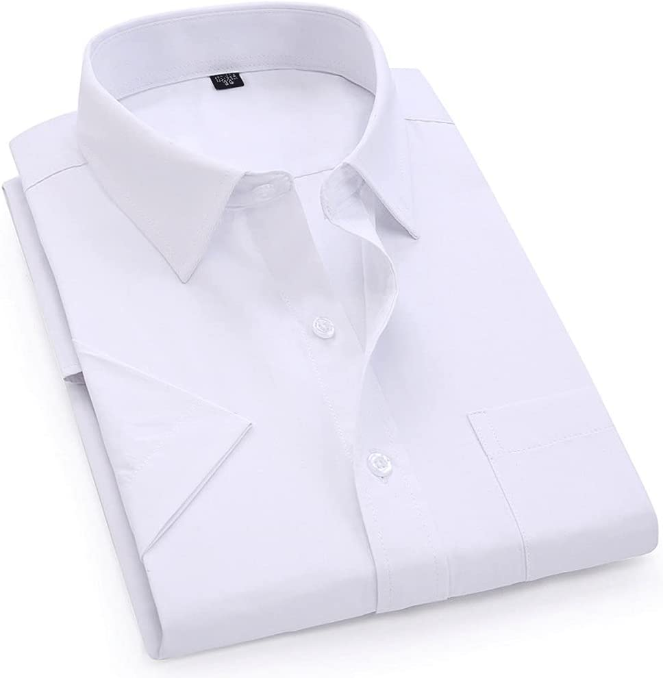 XJJZS Men's Casual Dress Short Sleeved Shirt Twill White Blue Pink Black Male Regular Fit Shirt Men Social Shirts 4XL 5XL 6XL 7XL 8XL (Color : White, Size : Asian S Label 38)
