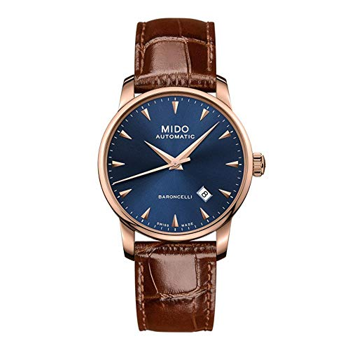 Mido Men's Baroncelli Midnight 38mm Brown Leather Band Steel Case Automatic Blue Dial Watch M8600.3.15.8