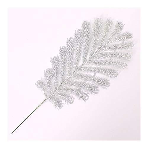 Lifelike - Ghirlande artificiali glitterate, 30 cm, con foglie di Yucca, Gloriosa, decorazione romantico (colore: argento)