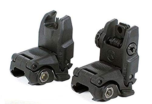 Magpul MBUS Sight Set (Front & Rear) - GEN 2, Black w/ Free MSP Silicone Gun Cloth