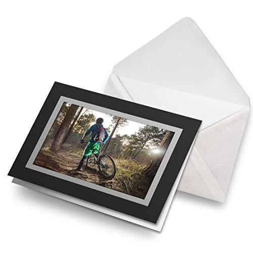 Greeting Cards Black (Insert) - Mountain Bike BMX Trail Racing Blank Greetings Card Birthday Kids Party Boys Girls #8657
